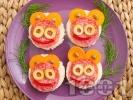 Рецепта Детски сандвичи с колбас и зеленчуци